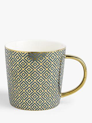 John Lewis & Partners The Arts Mug, 400ml, Teal/Gold
