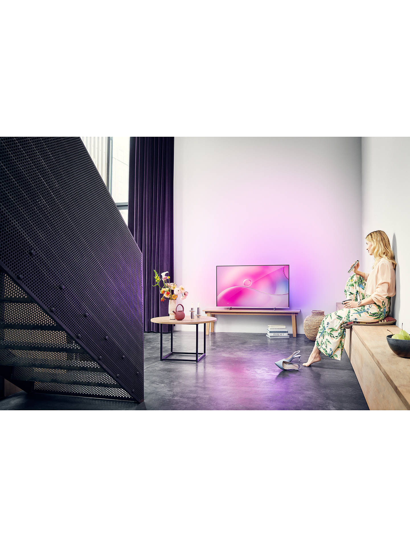 "Buy Philips 55PUS9104 (2019) LED HDR 4K Ultra HD Smart Android TV, 55"" with Freeview HD, Ambilight & Georg Jenson Design, Silver Online at johnlewis.com"