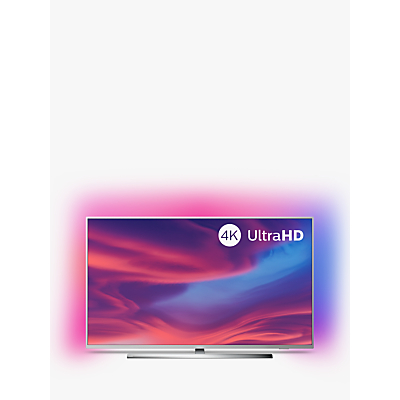 """Philips 43PUS7394 (2019) LED HDR 4K Ultra HD Smart Android TV, 43"""" with Freeview HD, Ambilight & Dolby Atmos Sound, Silver"""