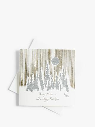 Five Dollar Shake Silver Forest Scene Christmas Card with Ecoglitter