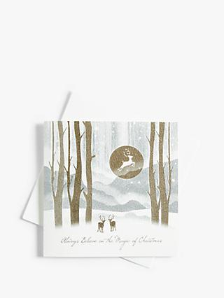 Five Dollar Shake Silver Reindeer Scene Christmas Card with Ecoglitter