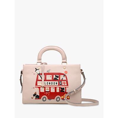 Radley Party Bus Leather Medium Grab Bag, Dove Grey
