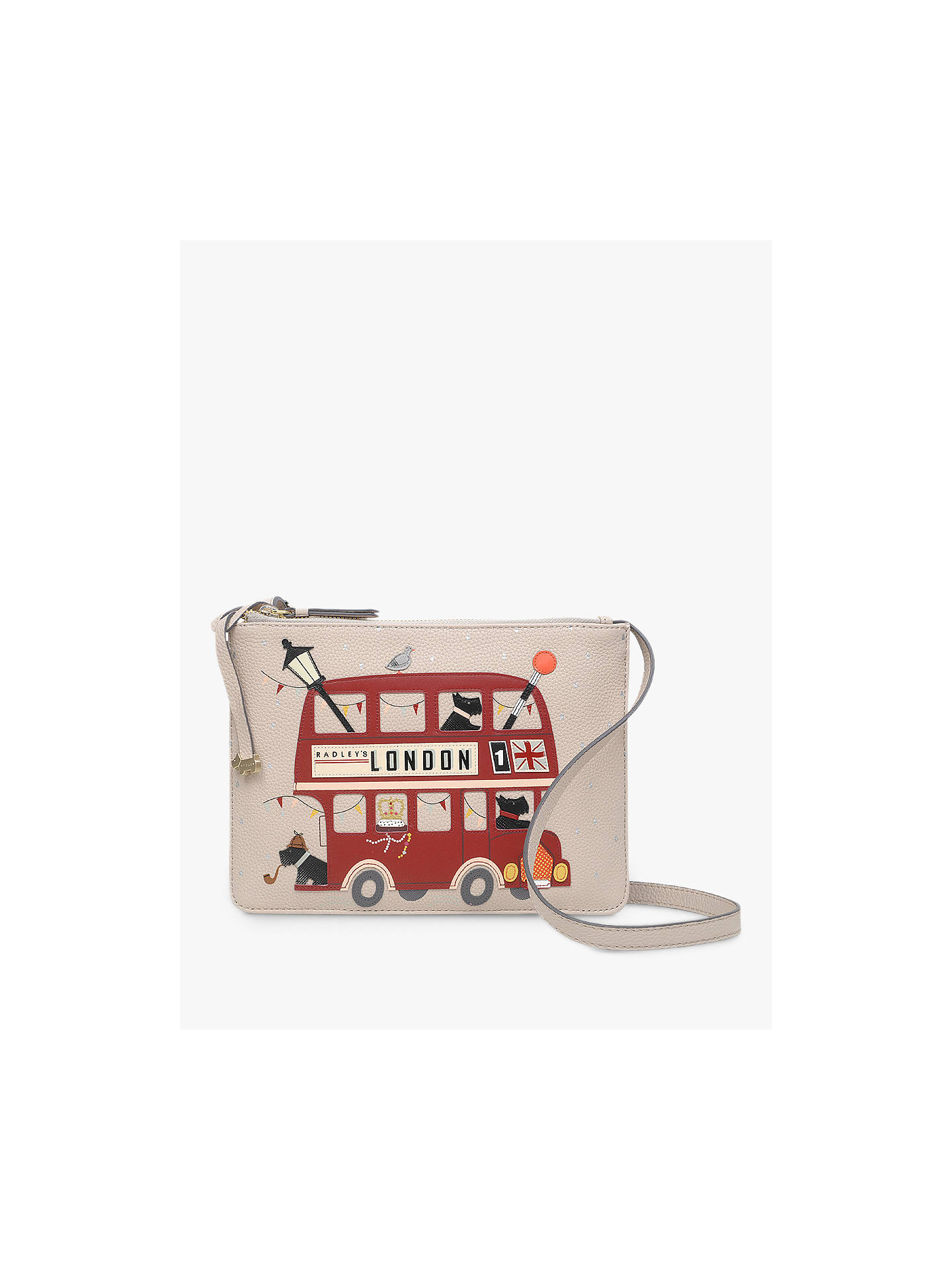 f4052663d7 Buy Radley Party Bus Small Zip-Top Leather Cross Body Bag, Dove Grey Online  ...