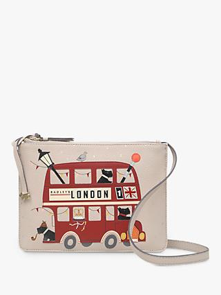 Radley Party Bus Small Zip-Top Leather Cross Body Bag, Dove Grey