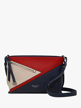 Radley Cedar Road Leather Colour Block Medium Cross Body Bag, Ink Blue