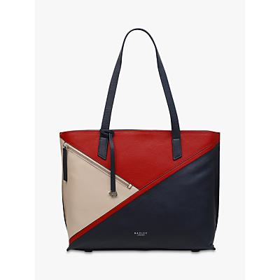 Radley Cedar Road Leather Colour Block Shoulder Bag, Ink Blue