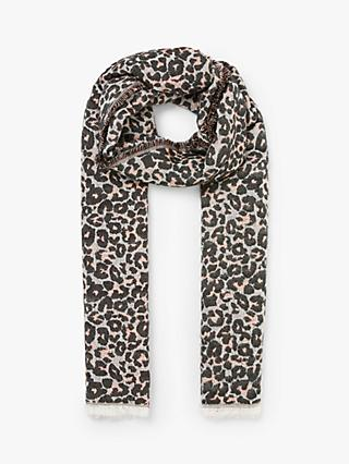 Collection WEEKEND by John Lewis Leopard Print Fringe Cotton Scarf, Blush/Multi