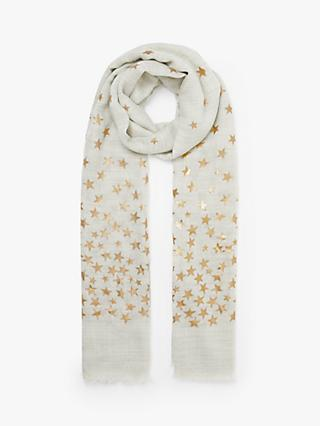 Collection WEEKEND by John Lewis Twinkle Foil Wool and Silk Scarf, Grey Mix