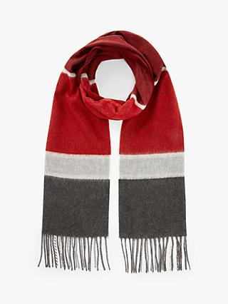 John Lewis & Partners Cashmink Horizontal Check Scarf, Red Mix