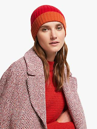 John Lewis & Partners Cashmere Ribbed Colour Block Beanie