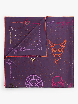 FRAAS Horoscope Print Square Silk Scarf, Purple/Multi