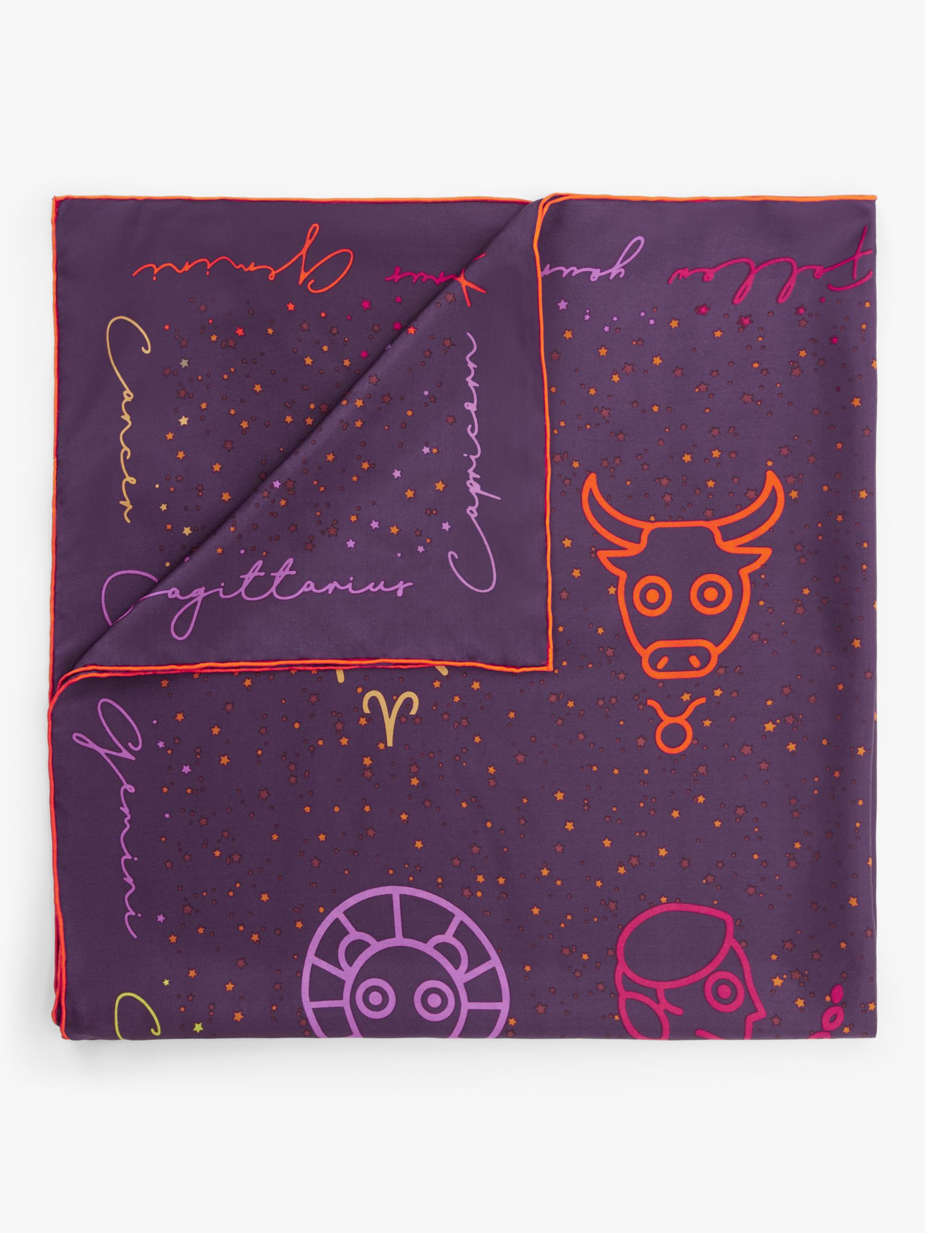 Fraas FRAAS Horoscope Print Square Silk Scarf, Purple/Multi