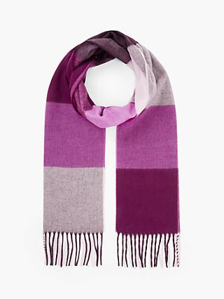 John Lewis & Partners Cashmink Colour Block Check Scarf, Purple