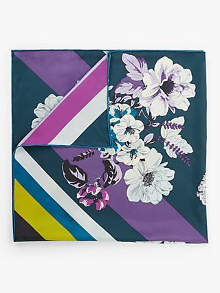 FRAAS Floral and Stripe Print Square Silk Scarf, Navy/Multi