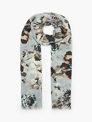 Modern Rarity Painted Blooms Wool Blend Scarf, Ice Blue