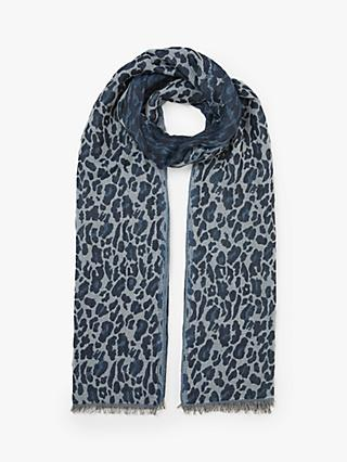 Collection WEEKEND by John Lewis Leopard Print Cotton Scarf, Denim/Grey