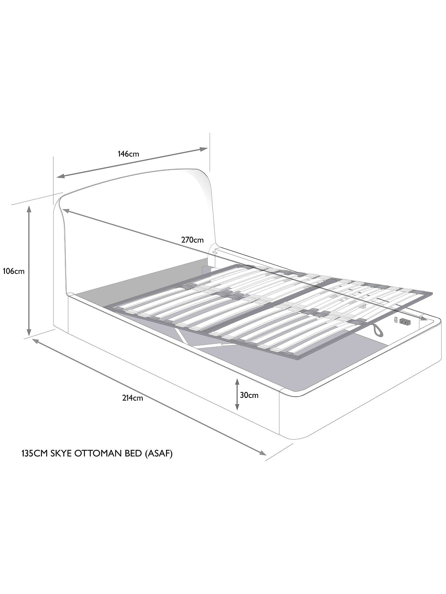 Buy Croft Collection Skye Ottoman Storage Upholstered Bed Frame, Double, Erin Grey Online at johnlewis.com