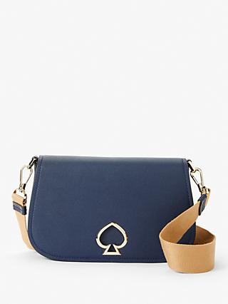 kate spade new york Suzy Medium Saddle Leather Cross Body Bag, Navy