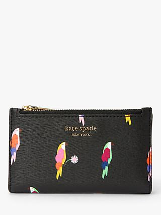 kate spade new york Sylvia Flock Party Small Slim Leather Bi-Fold Purse, Black
