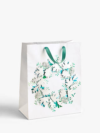 Buy John Lewis & Partners Snowscape Wreath Gift Bag, Medium Online at johnlewis.com