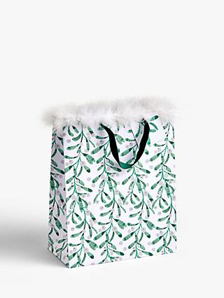 John Lewis & Partners Snowscape Mistletoe Gift Bag, Medium