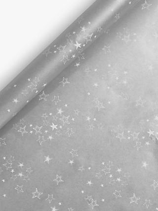John Lewis & Partners Snowscape Midnight Star Gift Wrap, Silver, 3m