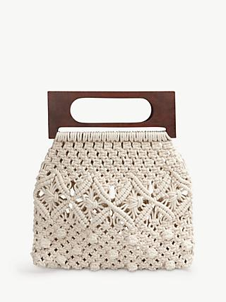 hush Naxos Crochet Handbag, Natural/Wood