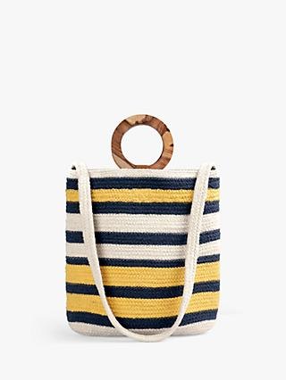 hush Positano Woven Stripe Shoulder Bag, Natural/Multi