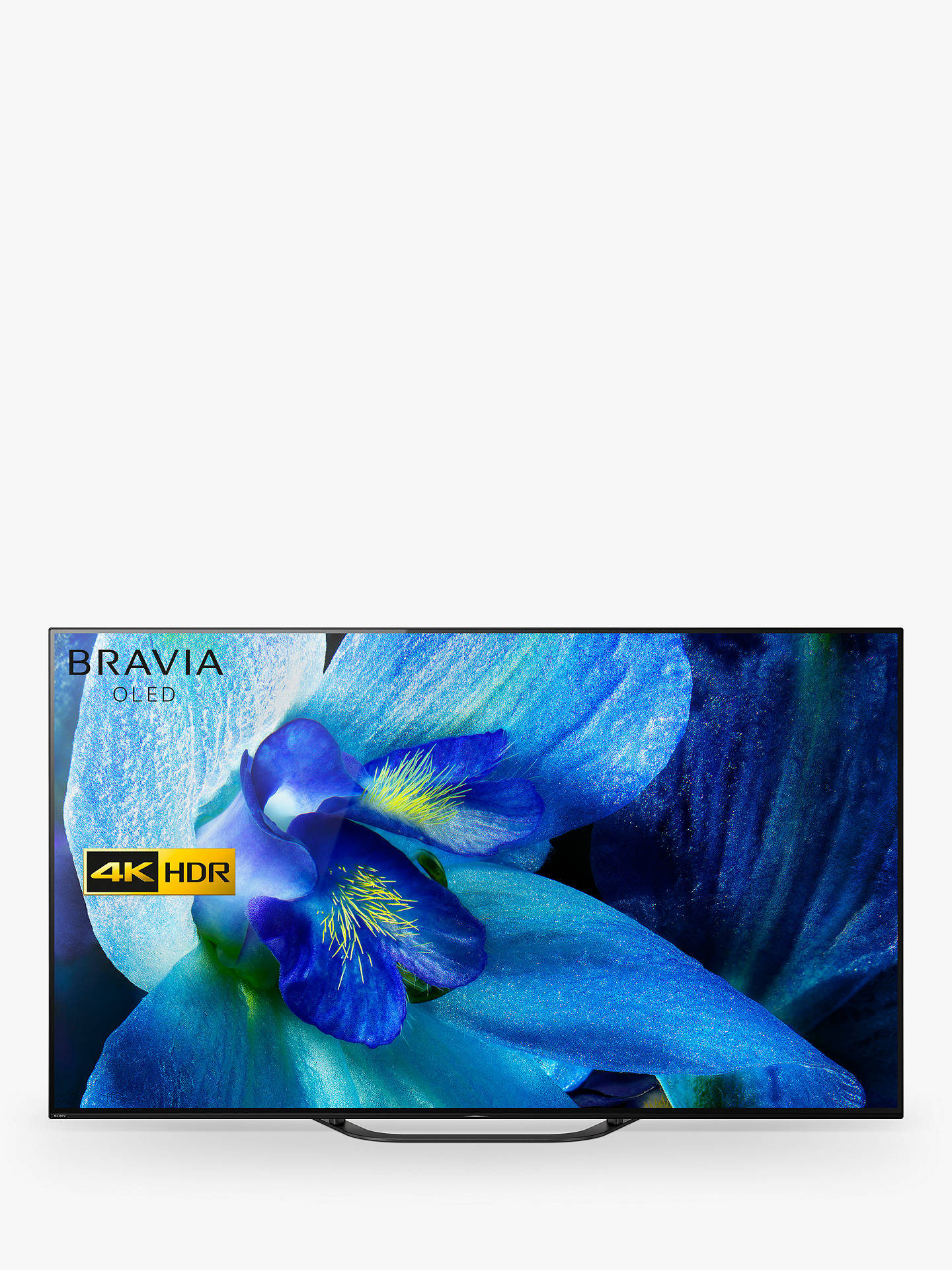 "Buy Sony Bravia KD55AG8 (2019) OLED HDR 4K Ultra HD Smart Android TV, 55"" with Freeview HD, Youview, & Acoustic Surface Audio, Black Online at johnlewis.com"