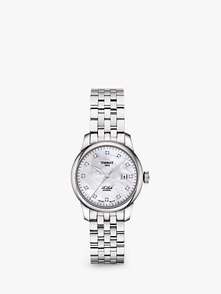 4787bf075 Tissot T0062071111600 Women's Le Locle Automatic Diamond Date Bracelet  Strap Watch, Silver