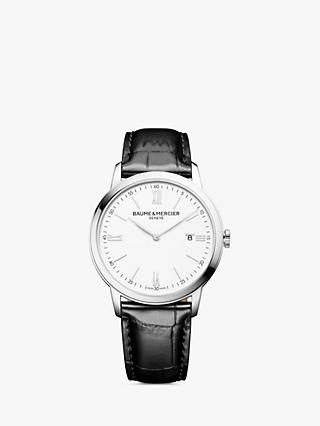 Baume et Mercier M0A10414 Men's Classima Date Leather Strap Watch, Black/White