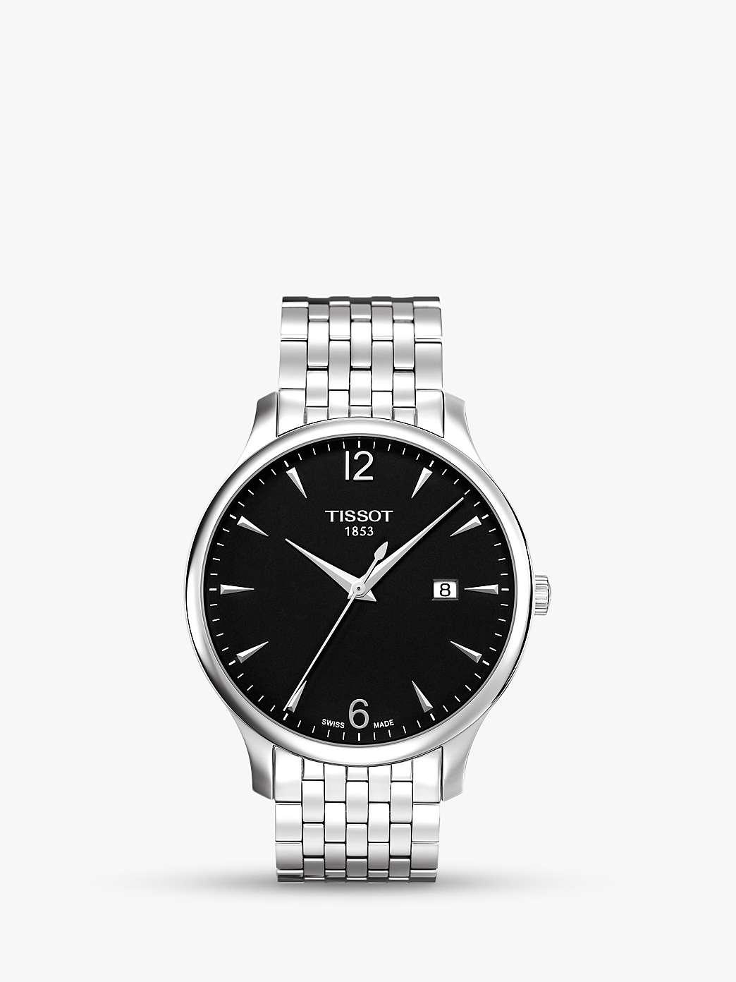 Tissot T0636101105700 Men's Tradition Date Bracelet Strap Watch, Silver/Black by John Lewis
