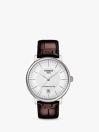 4594572f2 Tissot T1224071603100 Men's Carson Powermatic 80 Date Leather Strap Watch,  Brown/White