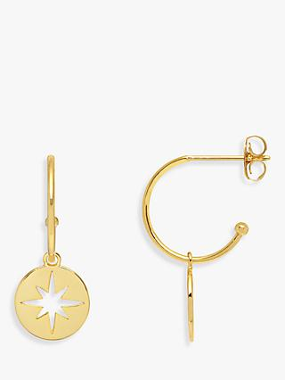 Estella Bartlett Starburst Drop Hoop Earrings, Gold