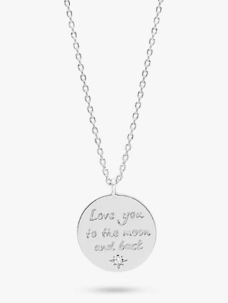 Estella Bartlett Love You To The Moon and Back Pendant Necklace, Silver