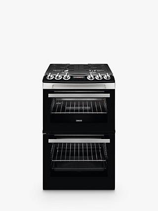 Zanussi ZCG43250XA Gas Cooker, Black & Stainless Steel