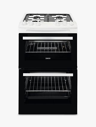 Zanussi ZCG43050WA Freestanding Gas Cooker, 55cm Wide, Black/White