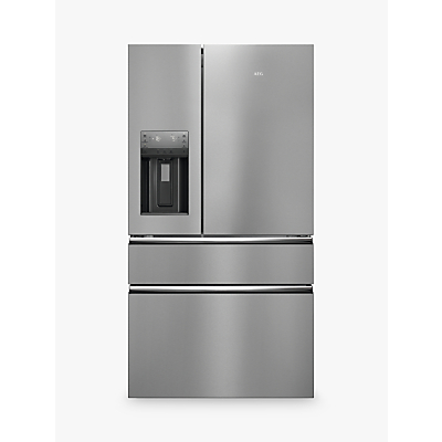 AEG RMB96716CX American Style Fridge Freezer, A+ Energy Rating, 91.3cm Wide, Silver