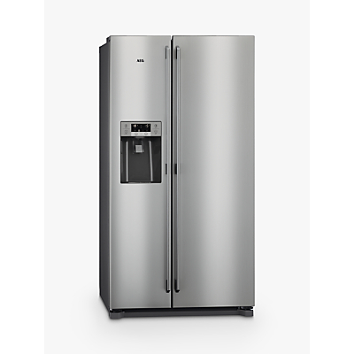 AEG RMB76111NX American Style Fridge Freezer, A+ Energy Rating, 91.2cm Wide, Stainless Steel