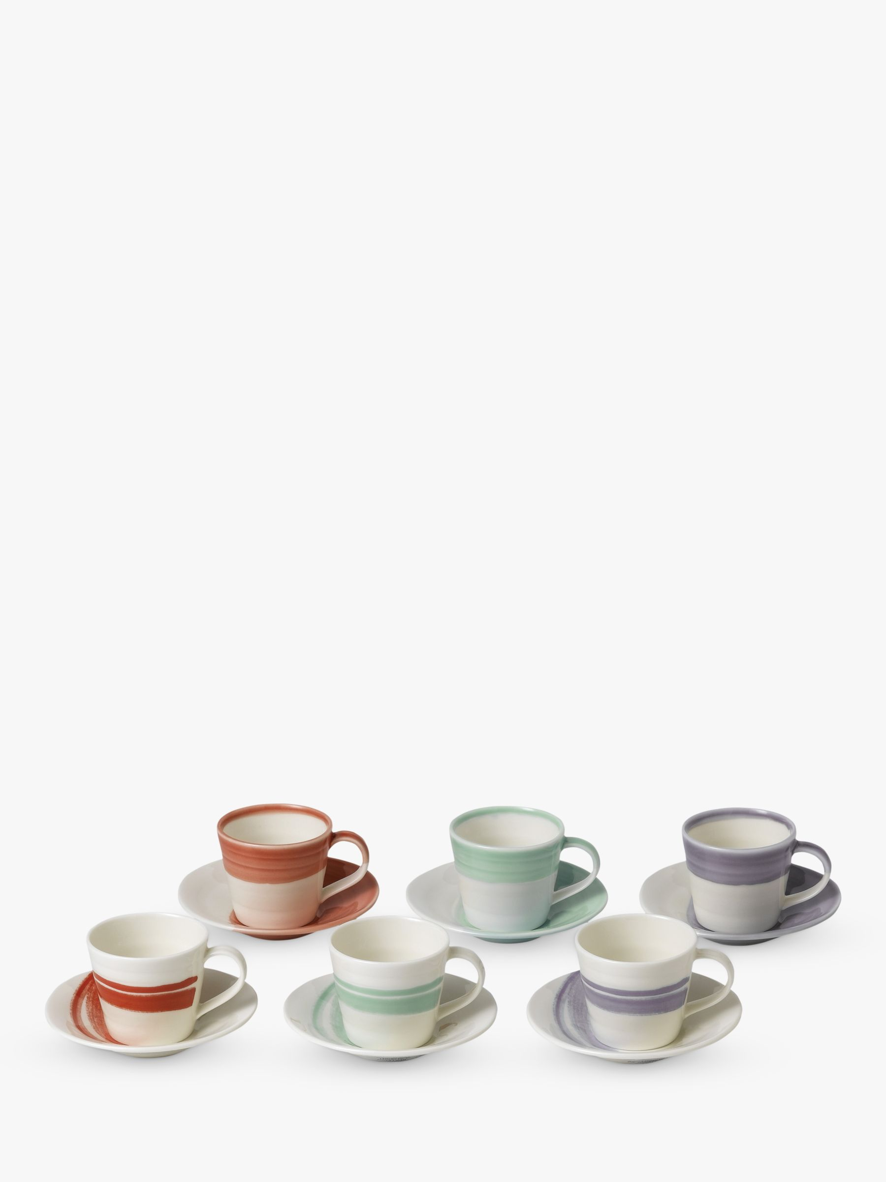 Royal Doulton Royal Doulton 1815 Bold Espresso Cup & Saucer, Set of 6, 90ml, Assorted
