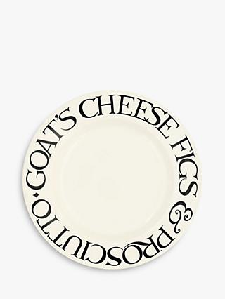 Emma Bridgewater Black Toast Fig & Cheese Plate, 22cm, Black/White