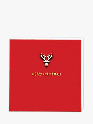 Redback Cards Sunglasses Reindeer Pin Badge Christmas Card