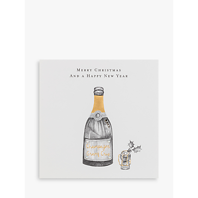 Janie Wilson Bottle Of Champagne Christmas & New Year Card