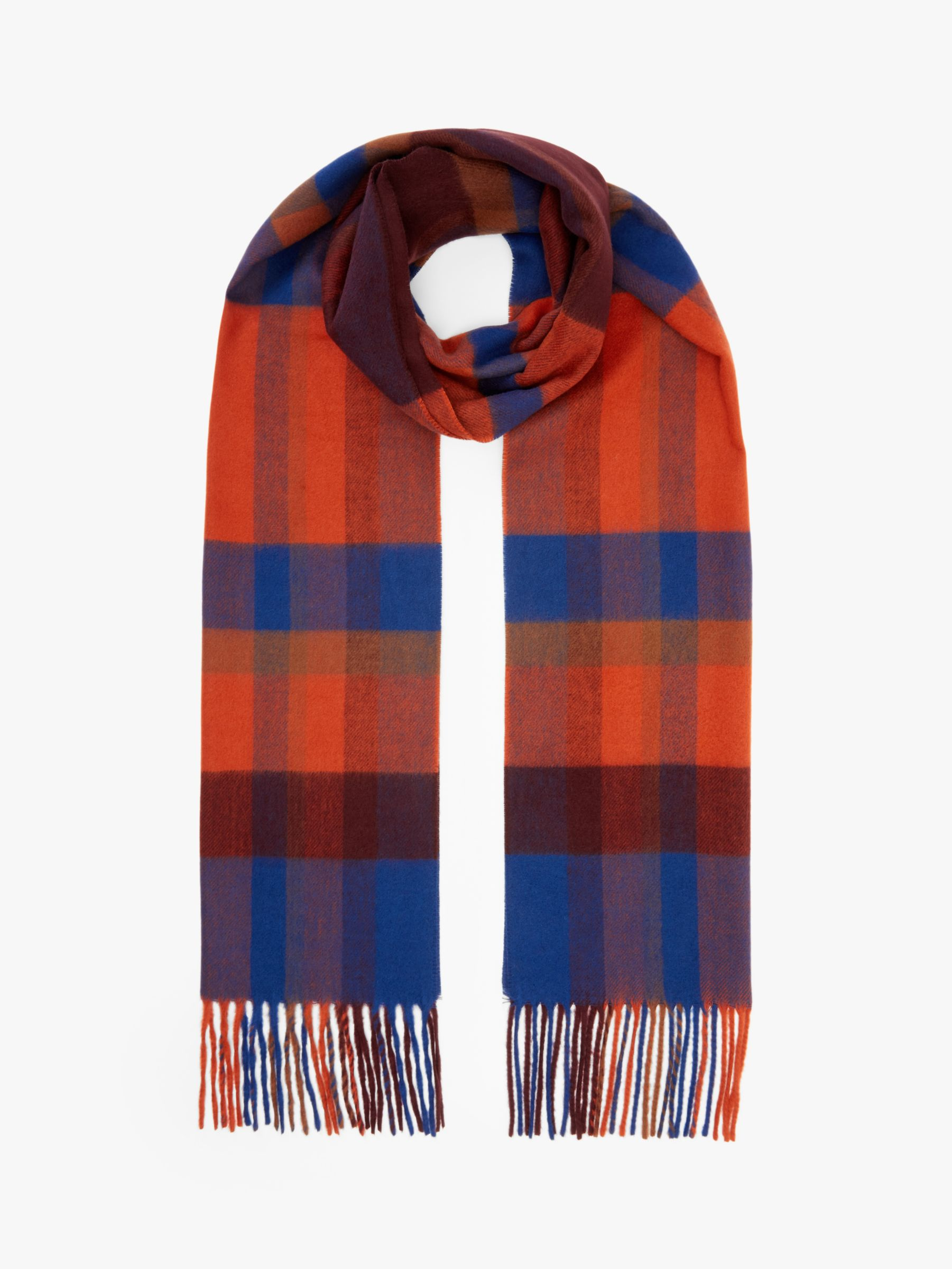 Buy John Lewis & Partners Cashmink Peterson Check Scarf, Red/Blue Online at johnlewis.com