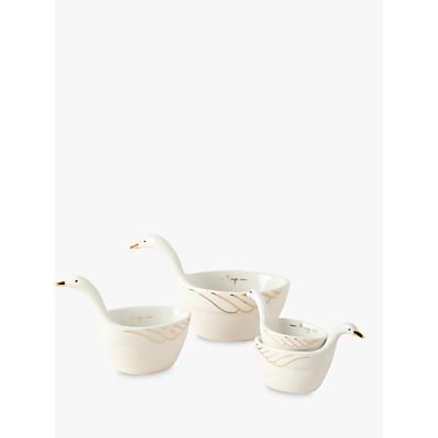 Anthropologie Gaggle Of Geese Nesting Measuring Cups, Set of 4, Gold/White