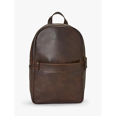 John Lewis & Partners Edinburgh Leather Backpack, Brown