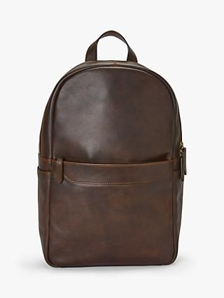 John Lewis & Partners Edinburgh Leather Backpack, Brown
