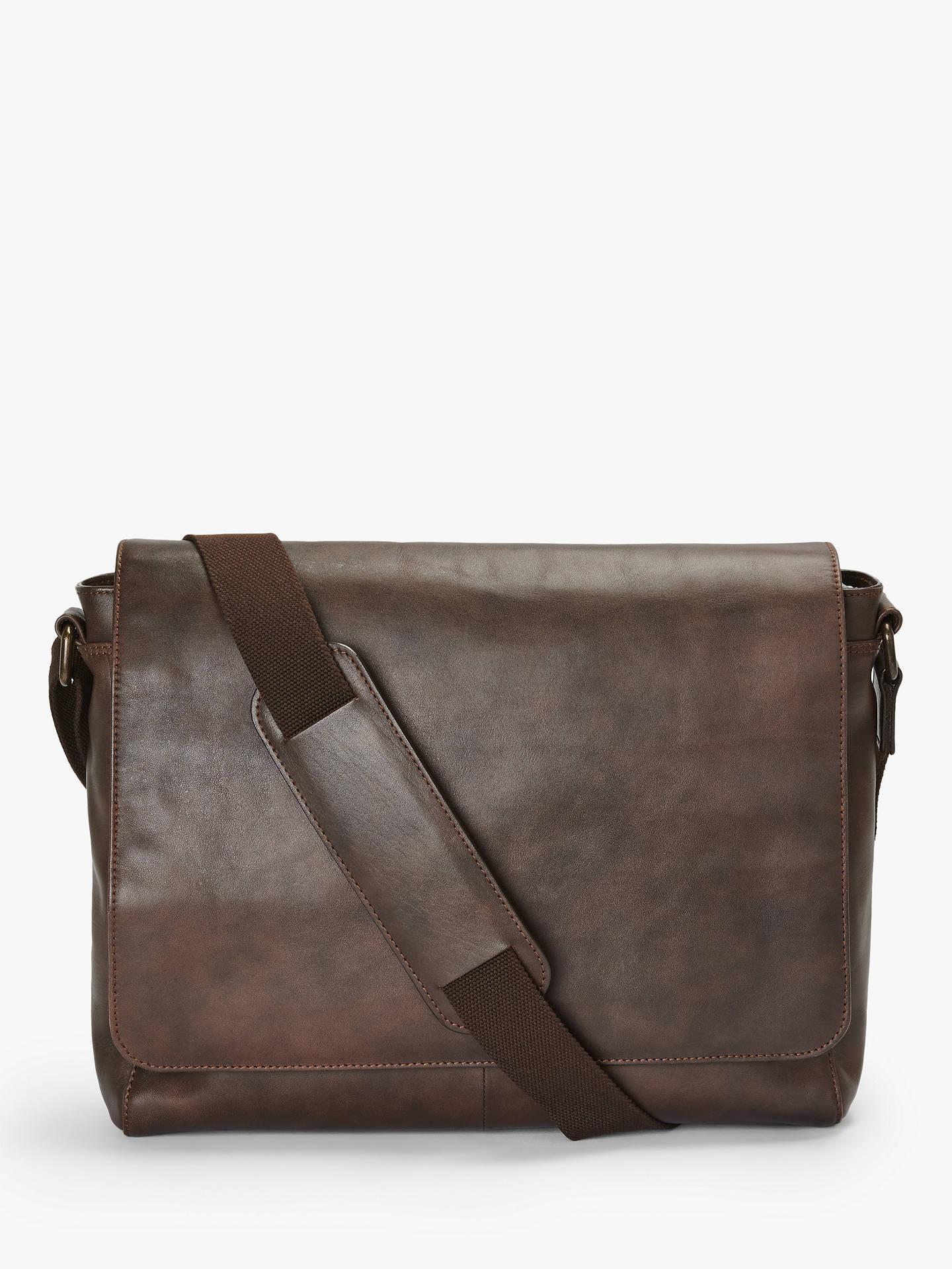 6de75e331616 John Lewis & Partners Edinburgh Leather Messenger Bag, Brown