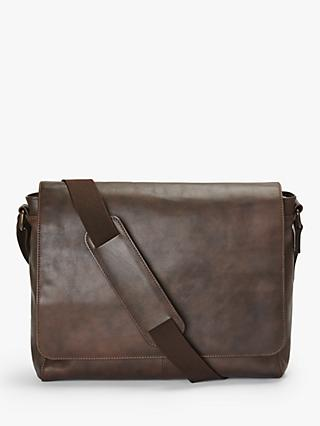 John Lewis & Partners Edinburgh Leather Messenger Bag, Brown