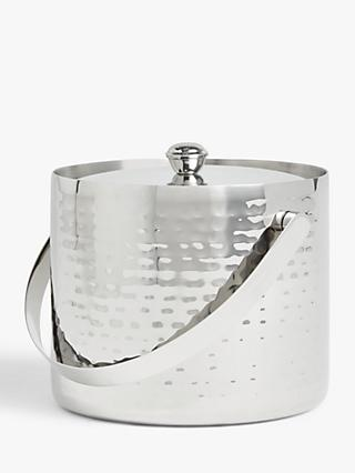 John Lewis & Partners Hammered Stainless Steel Ice Bucket & Lid, SIlver